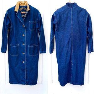VTG Lee Jeans Long Denim Trench Coat 100% Cotton M
